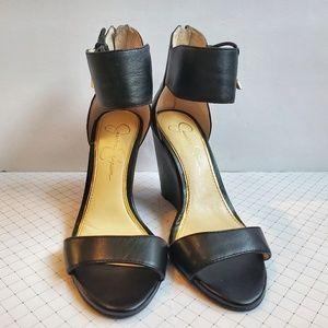 Jessica Simpson Breeley Black Wedge Sandal 6M/36